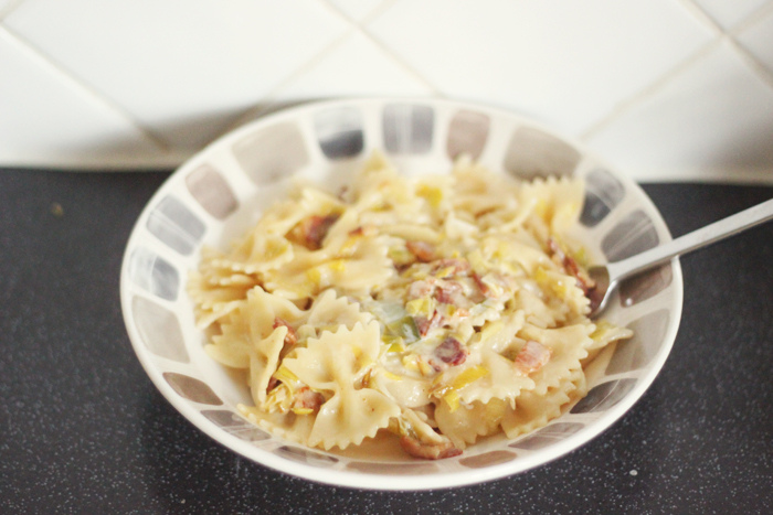 Read Recipe: Cheese, Leek & Bacon Pasta by April