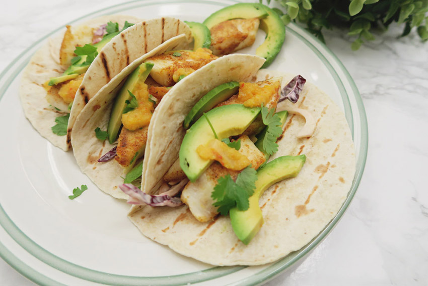 Fish Tacos with Homemade Coleslaw, Sliced Avocado & Pineapple Chilli Sauce