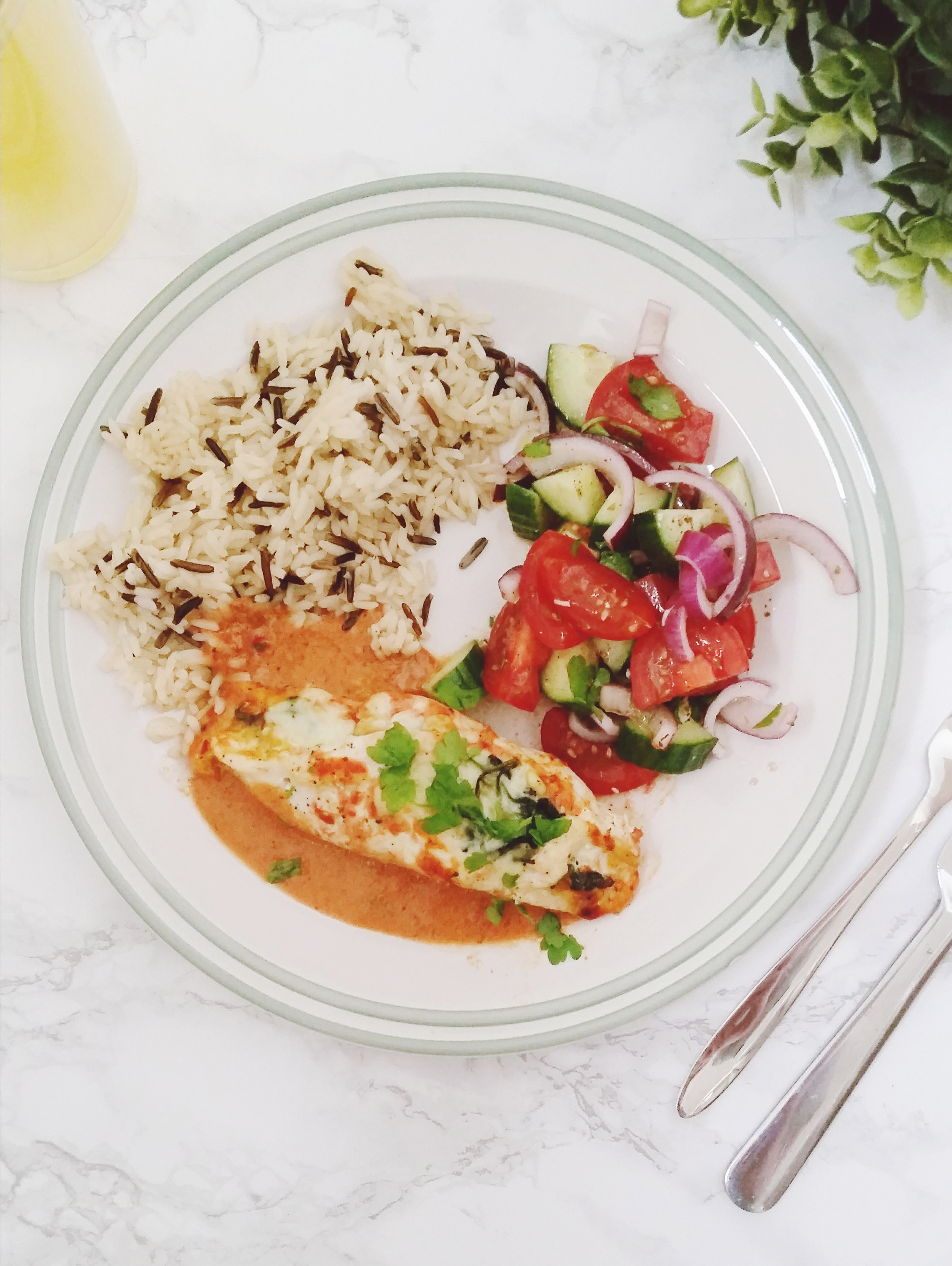 Turkish Stuffed Chicken Breasts with a tomato pepper sauce