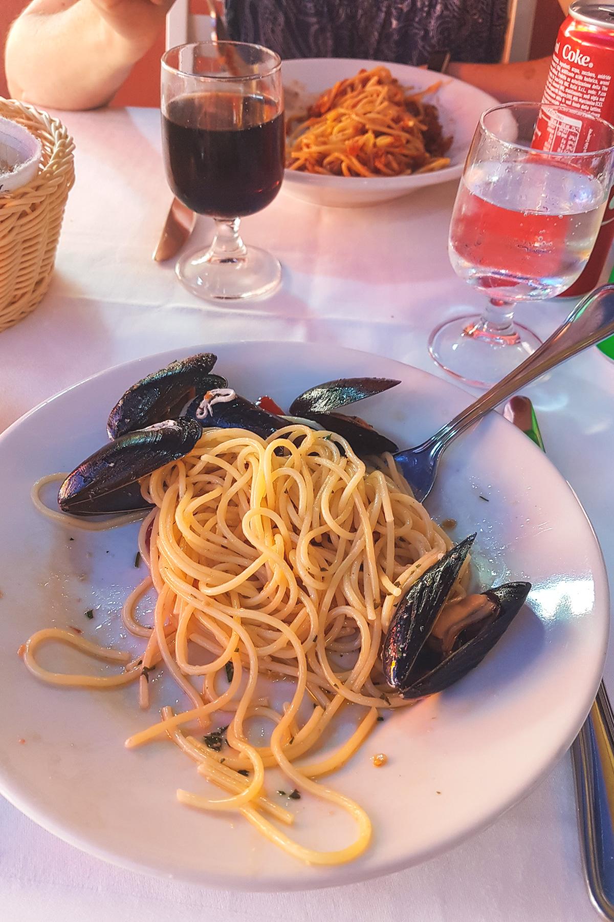 Spaghetti with Mussels in Vernazza in Cinque Terre, Ligurai Region, Italy
