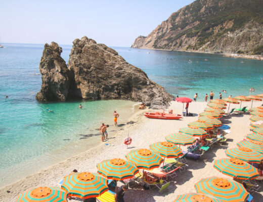 The Beach in Monterosso al Mare in Cinque Terre, Liguria, Italy