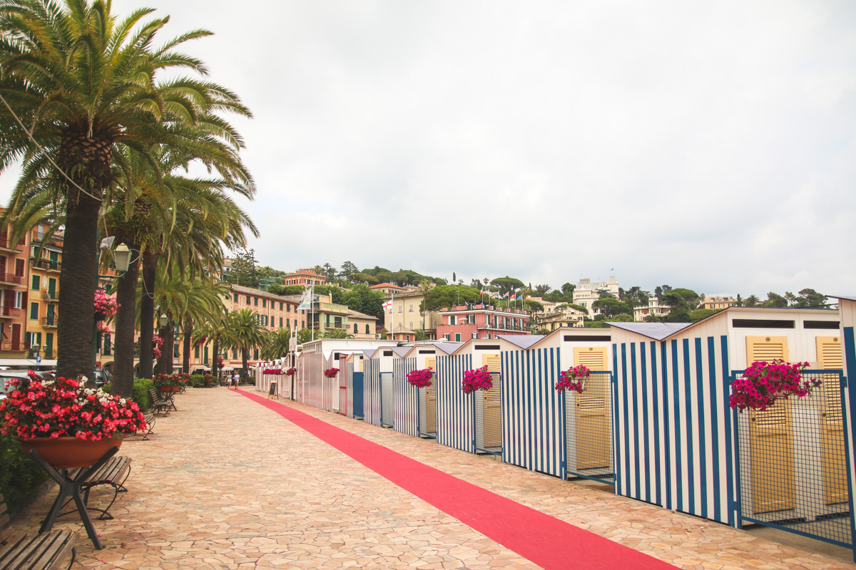 Colourful Beach Huts in Santa Margherita Ligure, Liguria, Italy