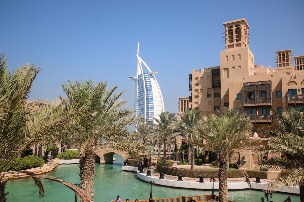 View of the Burj Khalifa from Souk Madinat, Dubai