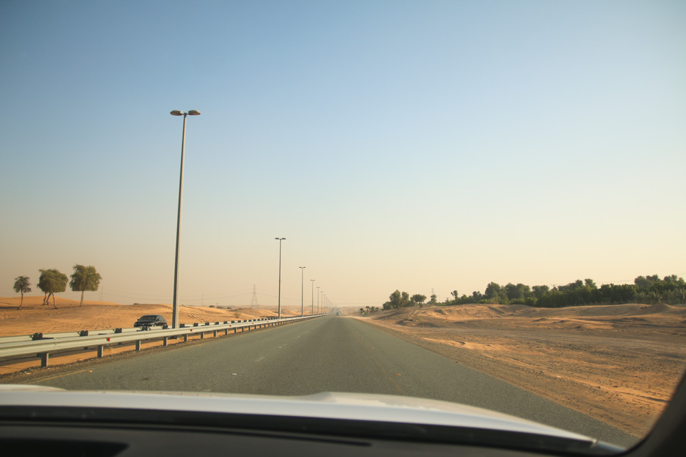 Driving to the Dubai Desert