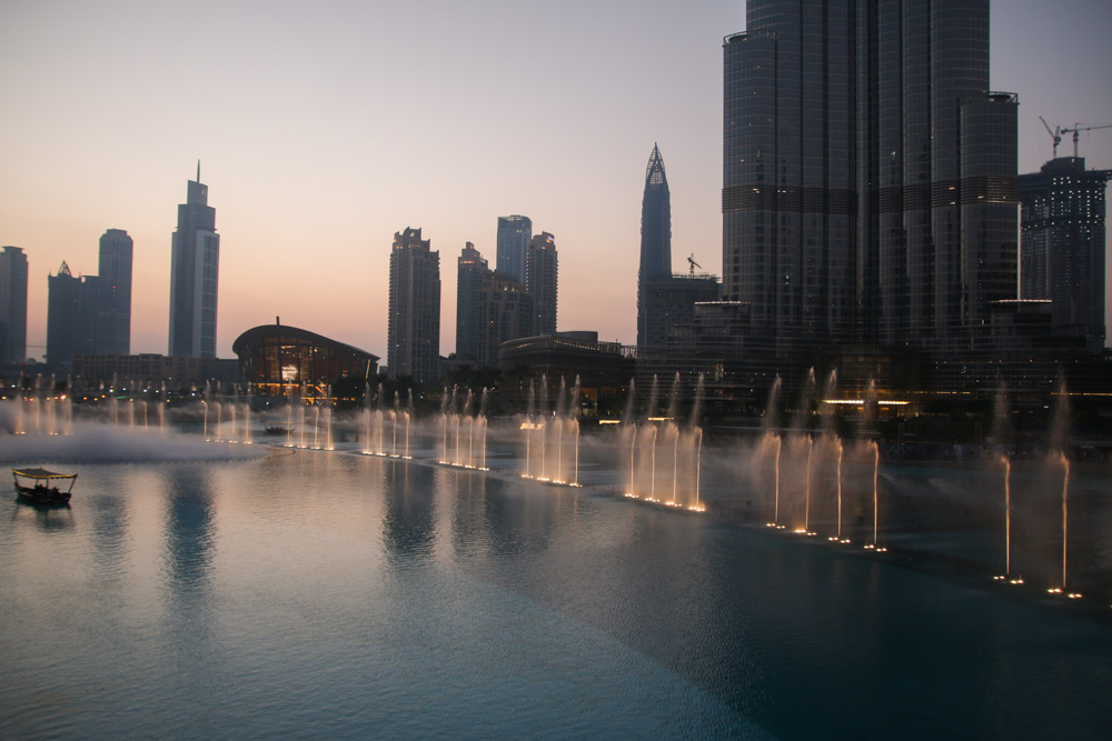 Dubai Fountain at Sunset