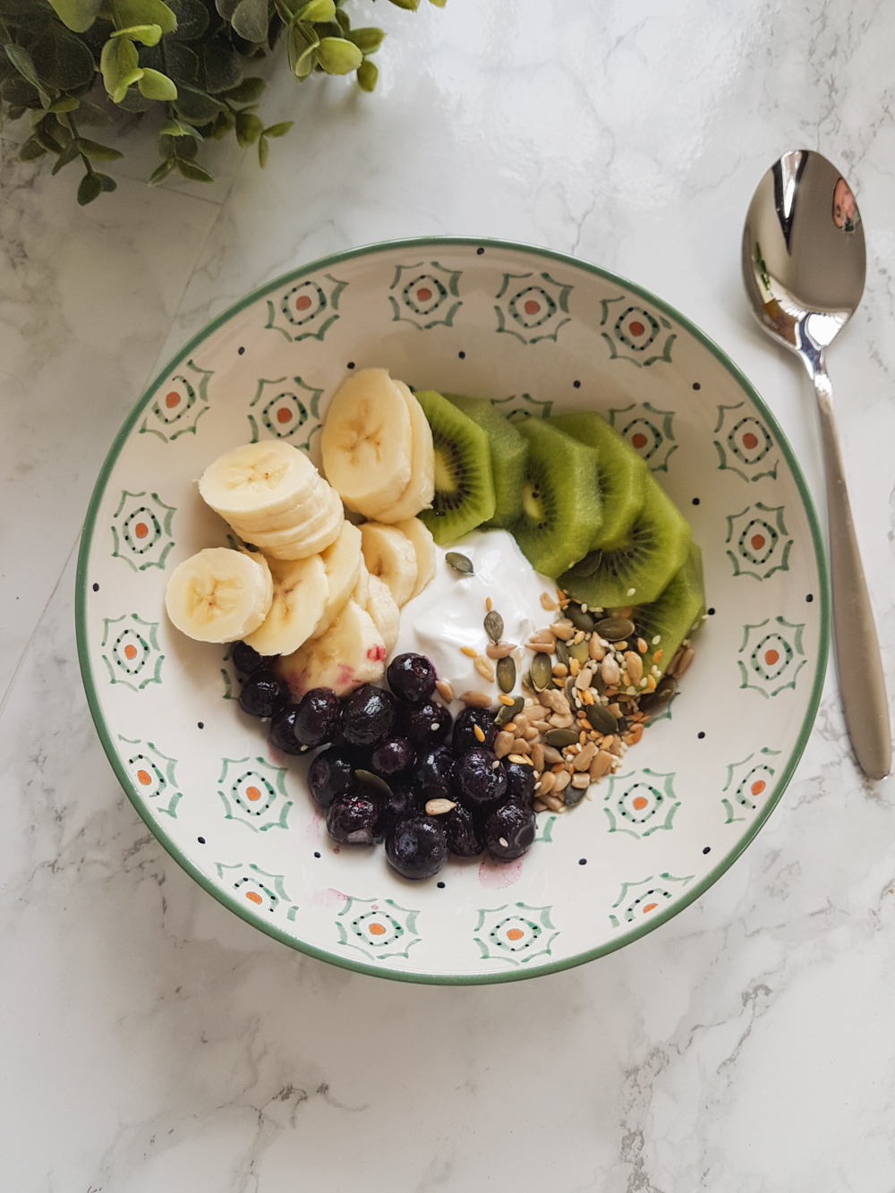 Vegan Breakfast Bowl - Banana, Kiwi, Seed Mix, Blueberries and Vegan Coconut Yogurt