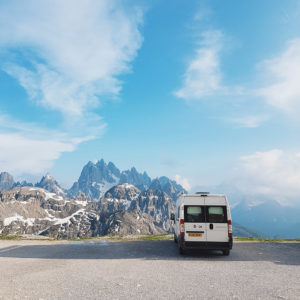 Campervan at the top of Tre Cime di Lavaredo in the Dolomites