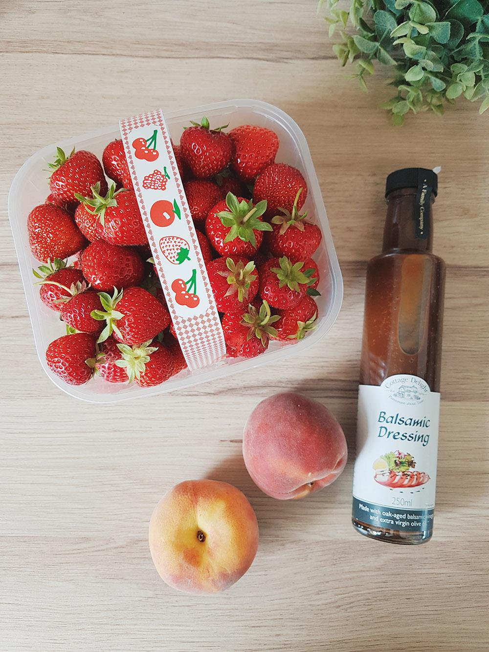 Fresh Peaches and Strawberries