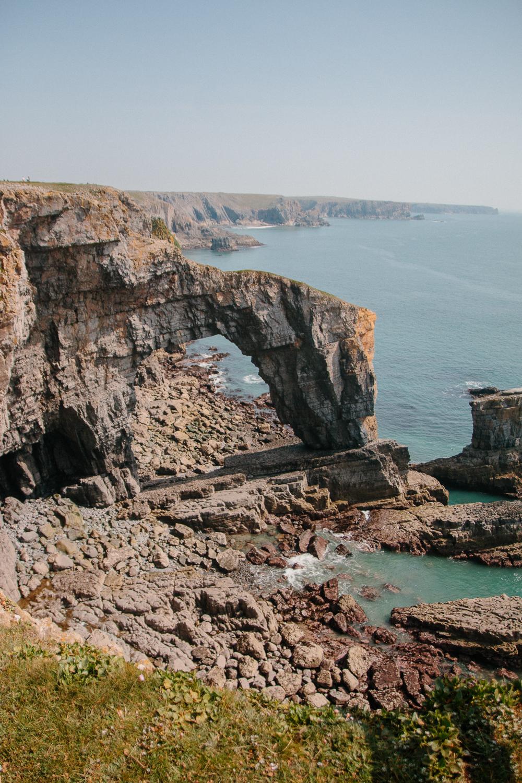 Green Bridge of Wales in Pembrokeshire Coastal Walk