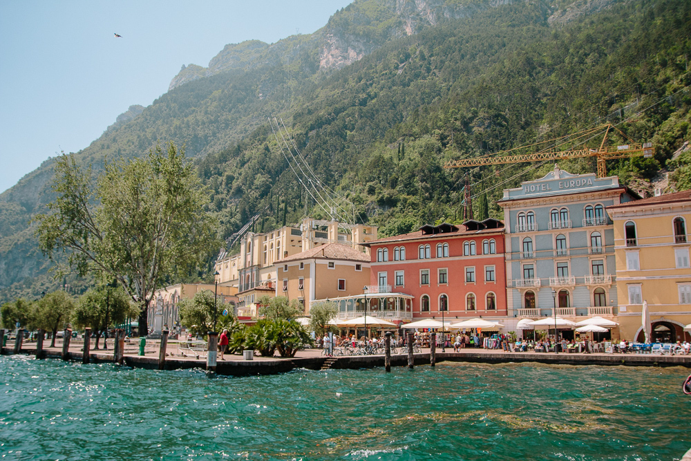 Colourful buildings on the lake front at Riva del Garda