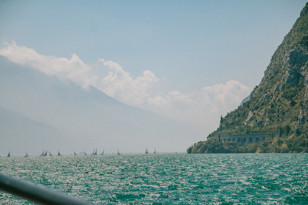 Sailing boats seen from the ferry from Riva del Garda to Limone