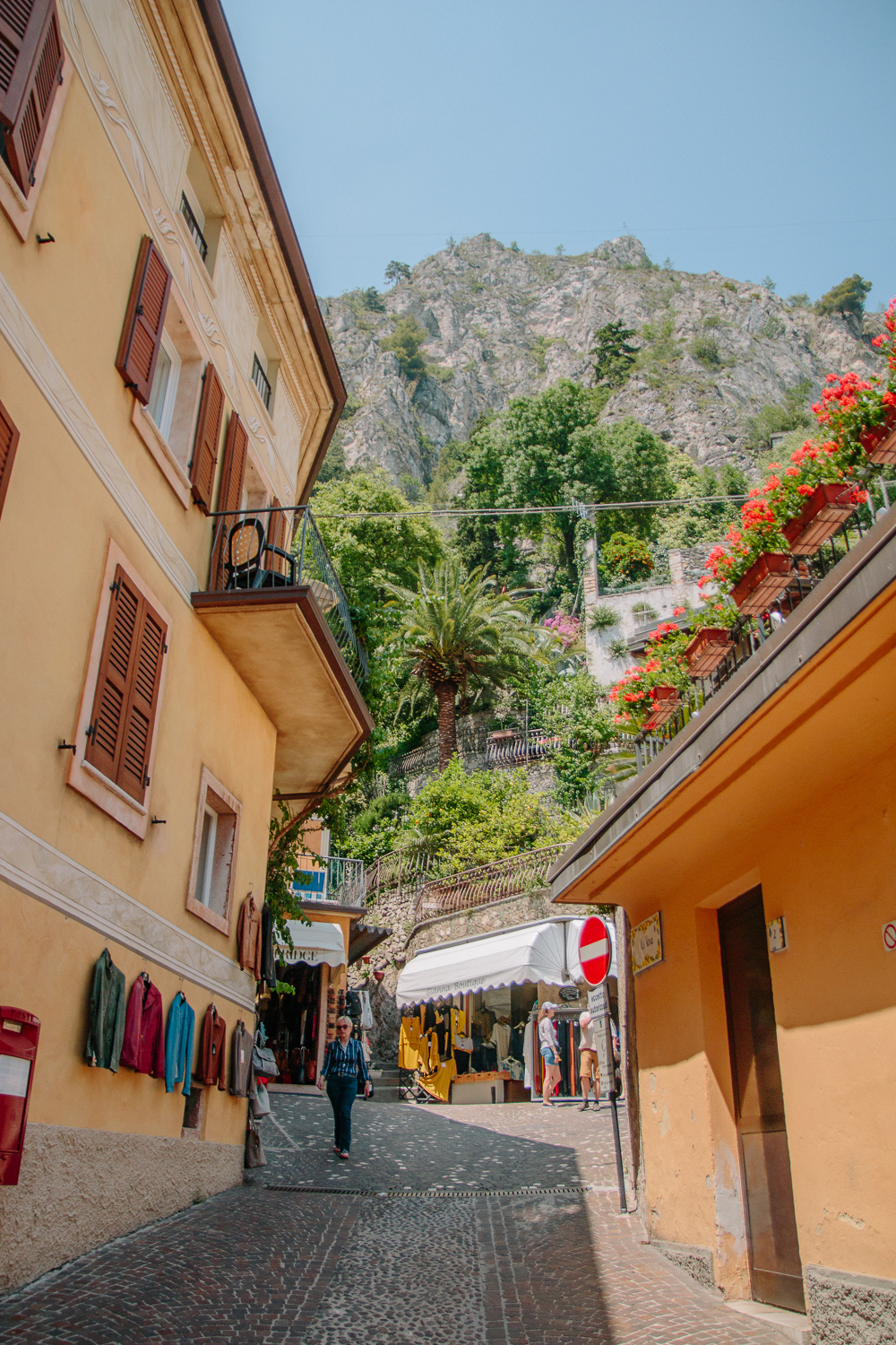Colourful yellow toned buildings in Limone