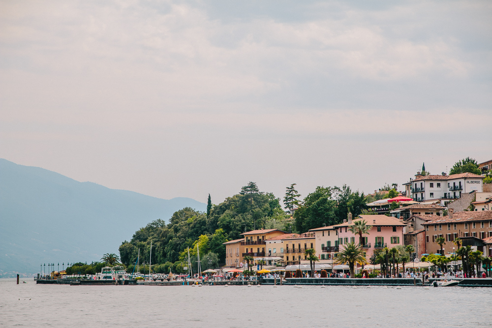 View of Limone from the ferry port in Limone, Lake Garda