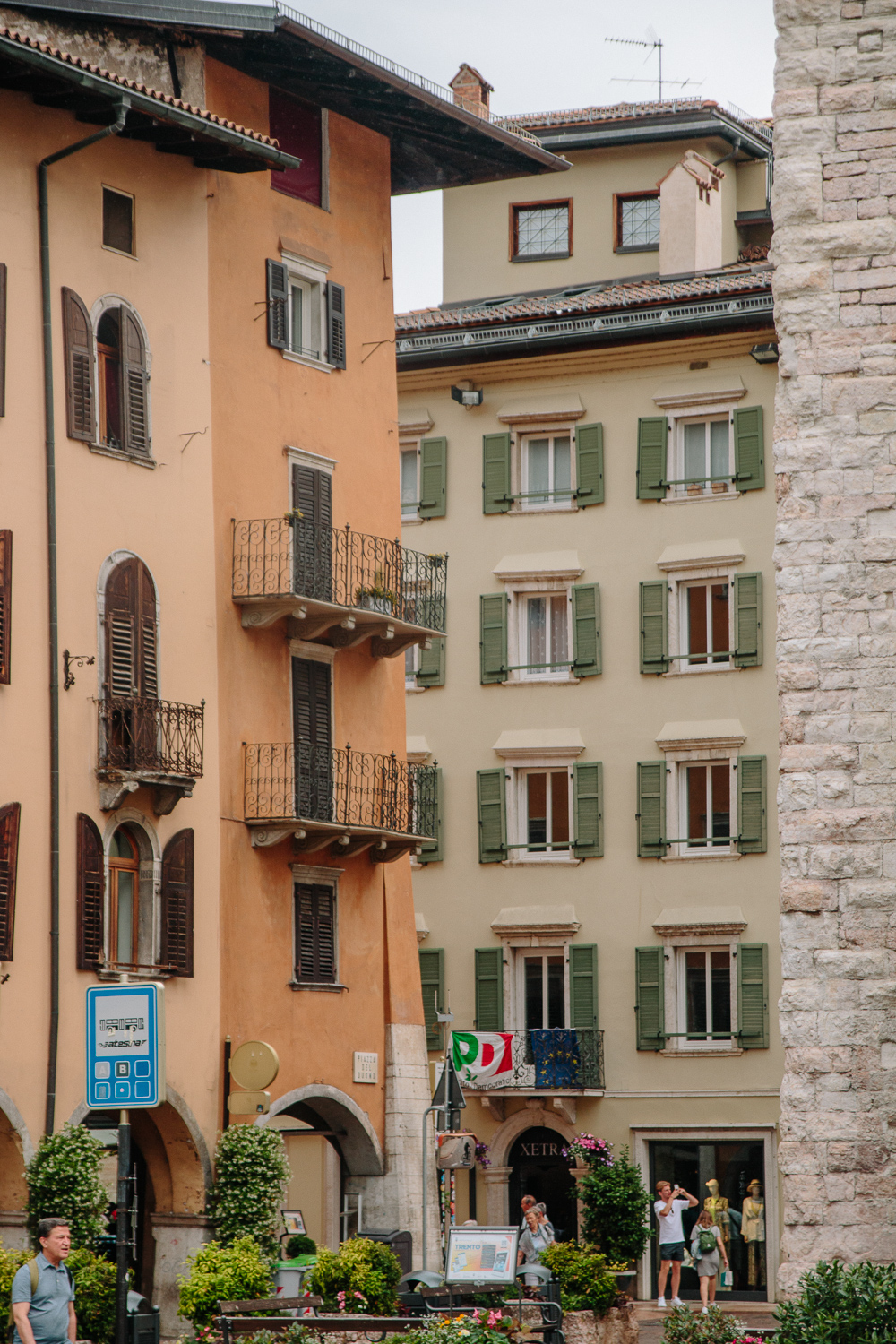 Colourful Buildings Lining Piazza Duomo in Trento