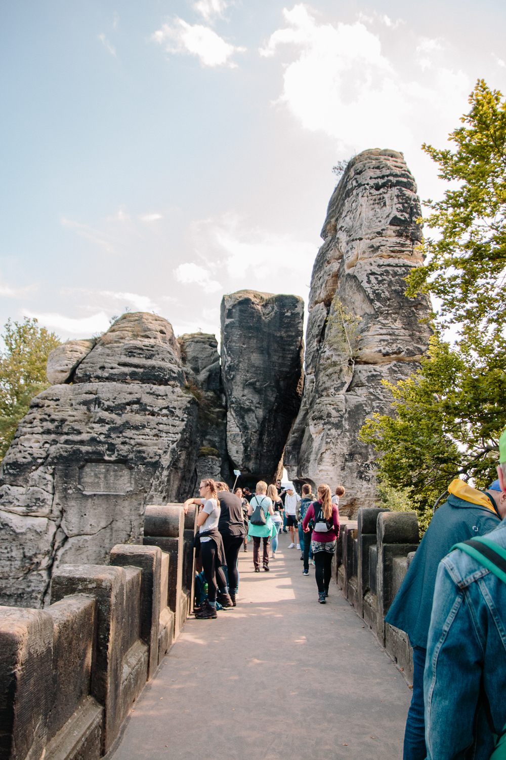 Walking across the The Bastei Bridge in Saxon Switzerland