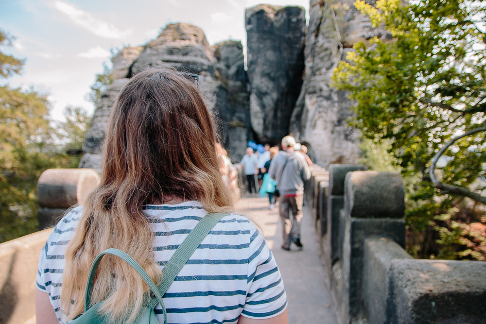 Walking across the Bastei Bridge