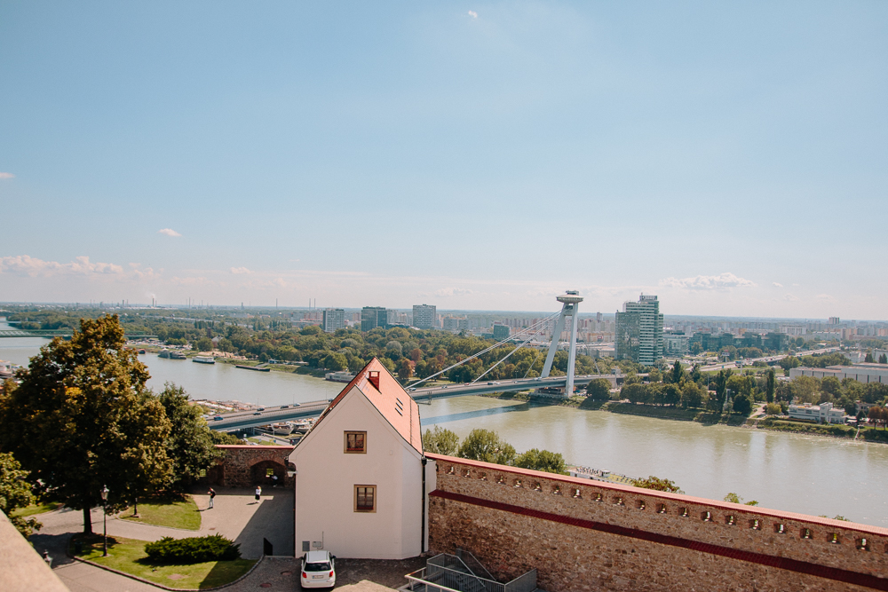 View from Bratislava Castle to the UFO Tower
