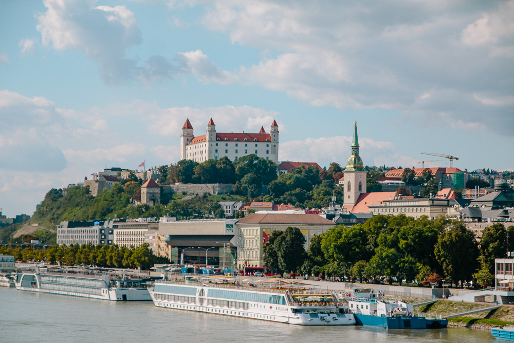 View of Bratislava Castle from across the Danube River