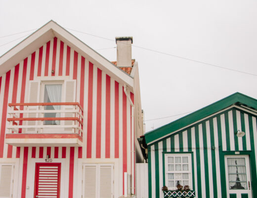 Colourful Striped Houses at Costa Nova Portugal