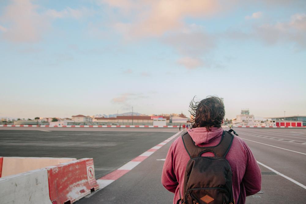 Walking Across Gibraltar Airport Runway to Spain