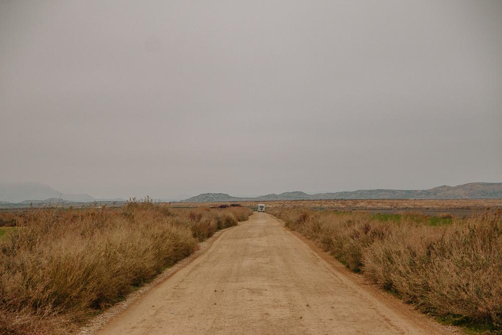 Road in the Bardenas Reales desert in Navarre, Northern Spain