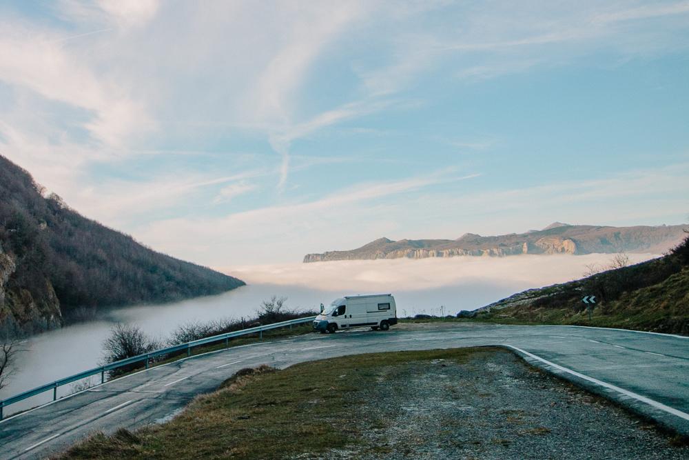 Cloud Inversion on the Road on Mirador de Olazagutía at Urbasa Andia National Park