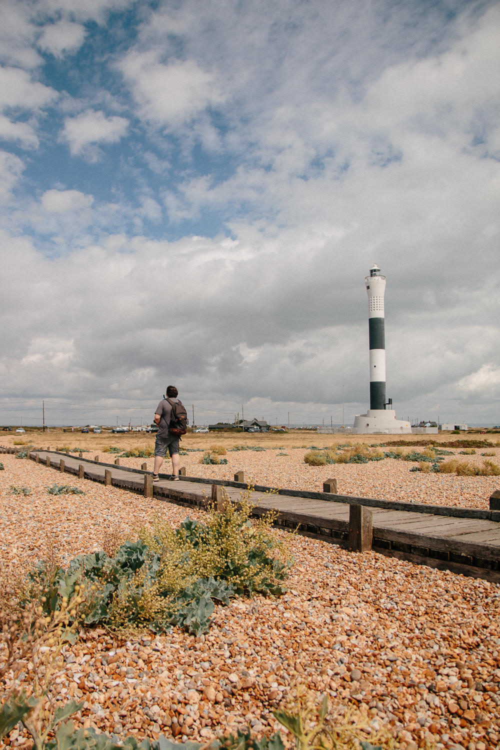 Boardwalk and Dungeness New Lighthouse in Kent