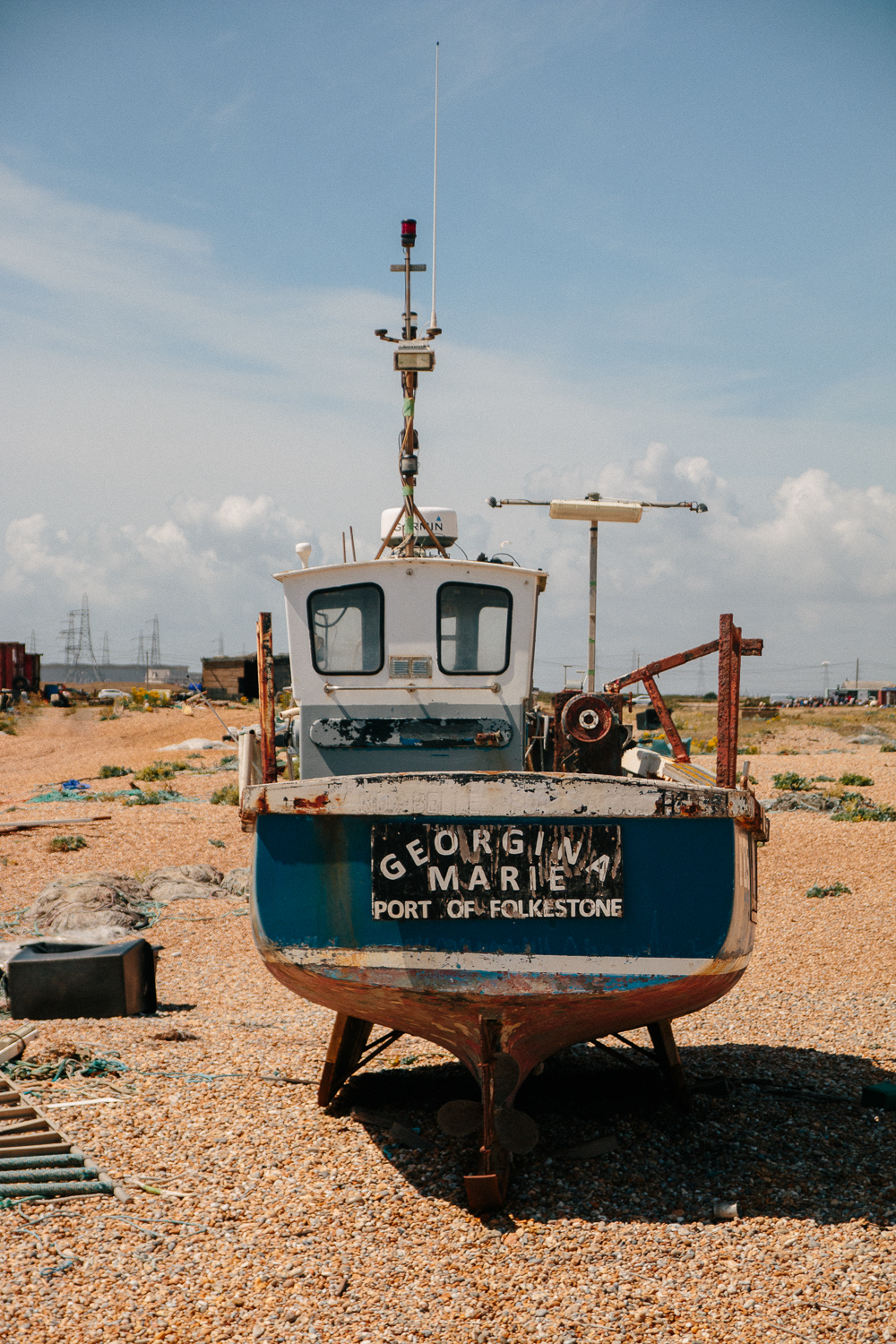 Old Abandoned Fishing Boat in Dungeness Nature Reserve in Kent
